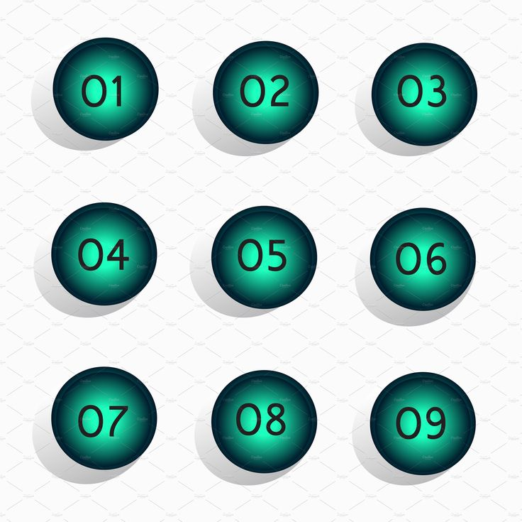 Numbers vector button design neon by TeaGraphicDesign on @creativemarket