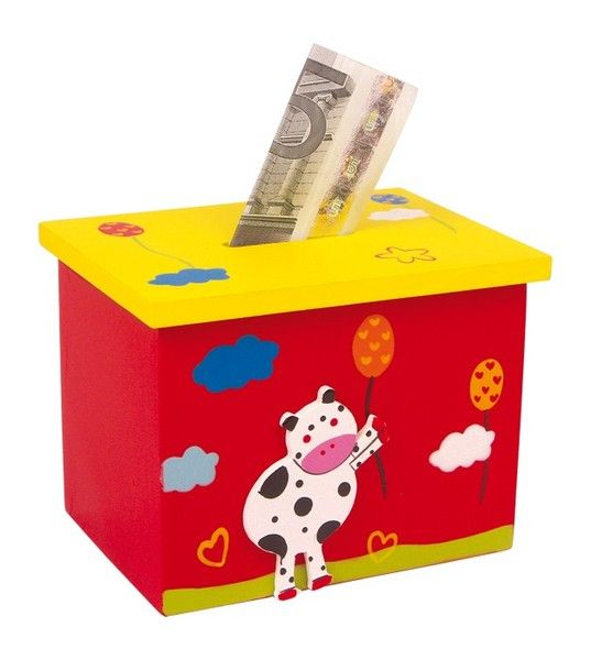 Spardose mit Namen  Kuh rot von Schnullerkette by baby name for u auf DaWanda.com
