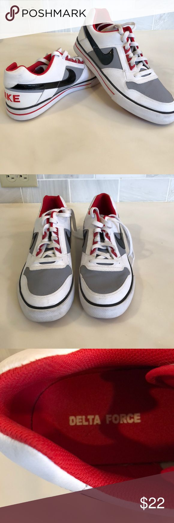 Men's Nike Tennis shoes Men's Nike Delta Force tennis shoes.  Great condition.  Worn once or twice.  Clean and shows very little wear.  There is one scuff mark on rubber you can see in last picture.  Non-smoking home. Nike Shoes Sneakers