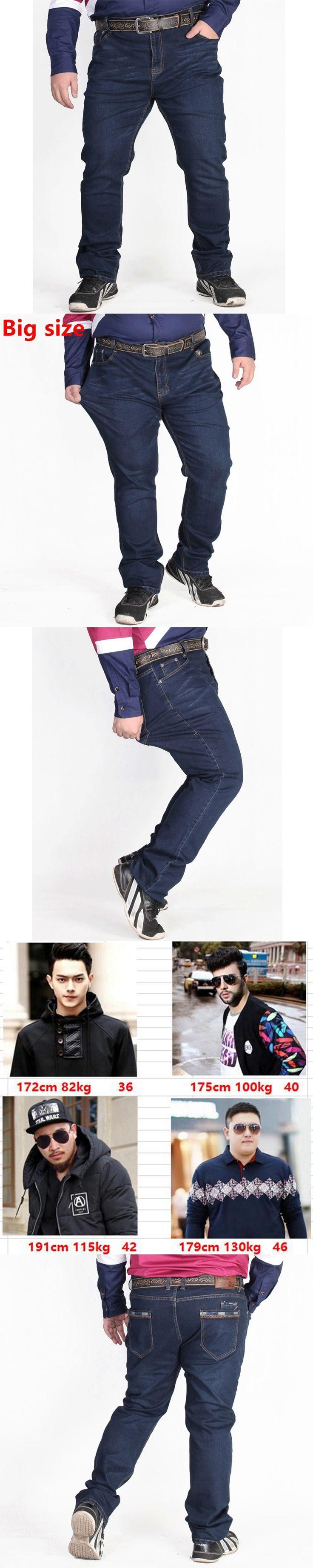 Plus size autumn new fertilizer plus-size men denim pants big and Tall high waist elastic big size nutty dark jeans