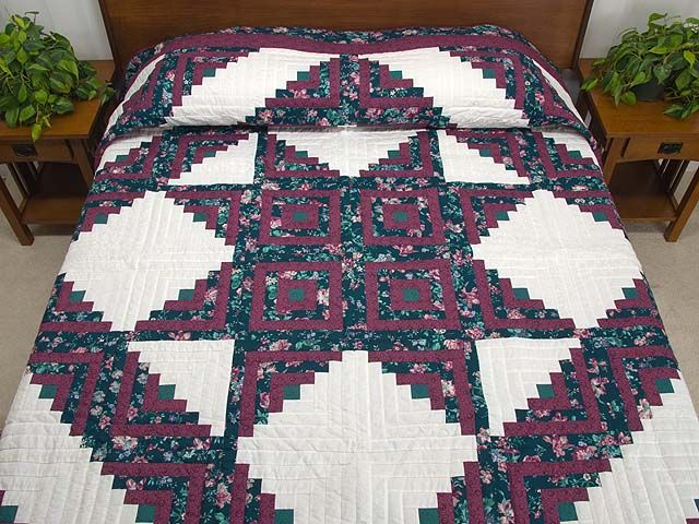 Log Cabin Star Quilt -- marvelous ably made Amish Quilts from Lancaster (hs5701)