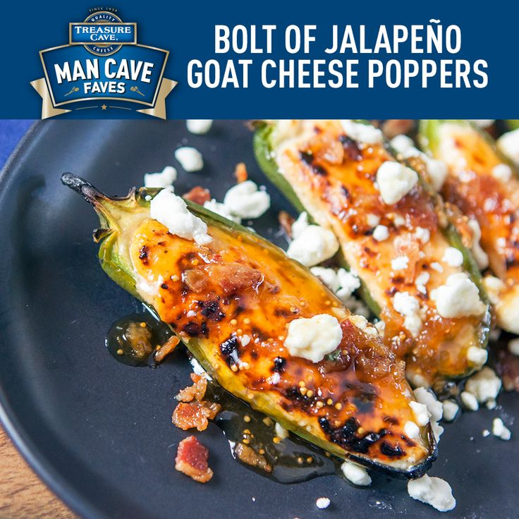 When it comes to jalapeño poppers, these could qualify as the greatest of all time! Stuffed with Treasure Cave® Goat Cheese, they're sure to make your crowd roar. #JalapeñoPoppers #TreasureCave #Cheese #Recipes #ManCaveFaves #EddieJackson