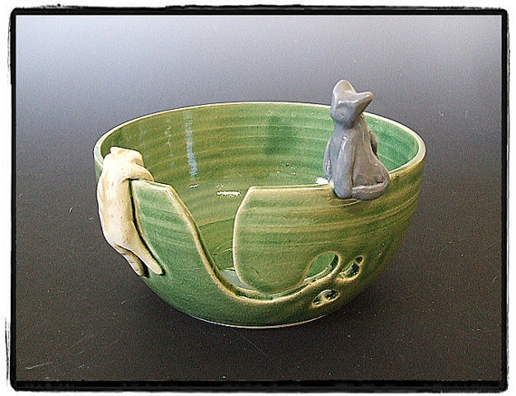 Yarn Bowl with Cute Tabby cat and gray Cat