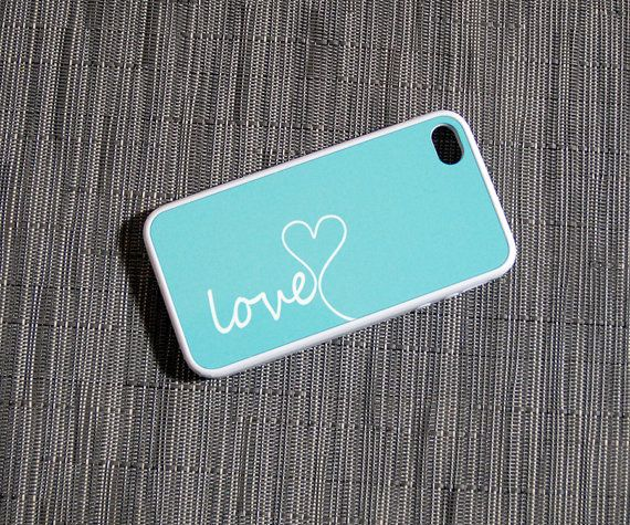 Mint Blue and White Love Rubber Silicone Custom iPhone Case - Color Like Tiffany Blue on Etsy