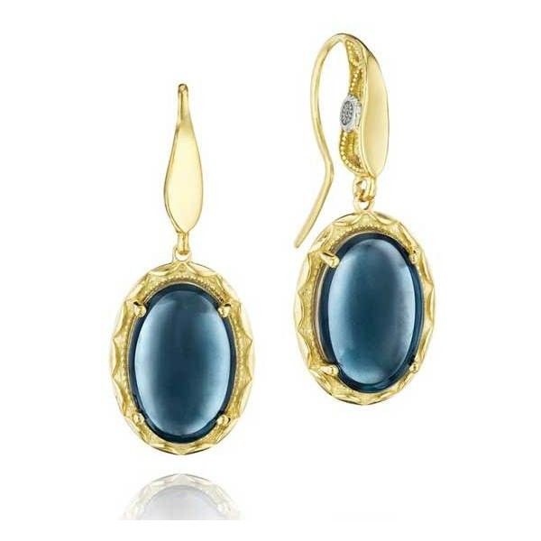 Tacori Golden Bay Yellow Gold Sky Blue Topaz Oval Earrings ($1,380) ❤ liked on Polyvore featuring jewelry, earrings, yellow gold jewelry, oval earrings, tacori jewelry, tacori and gold jewelry