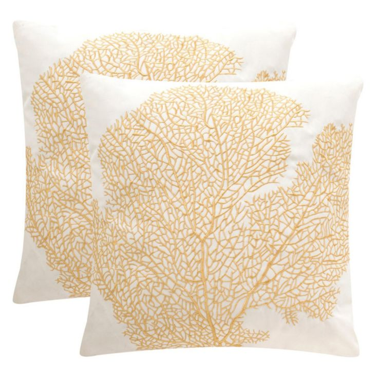 Safavieh Soleil 20 x 20 in. Spice Fan Coral Indoor/Outdoor Pillow - Set of 2 - PPL204A-2020-SET2