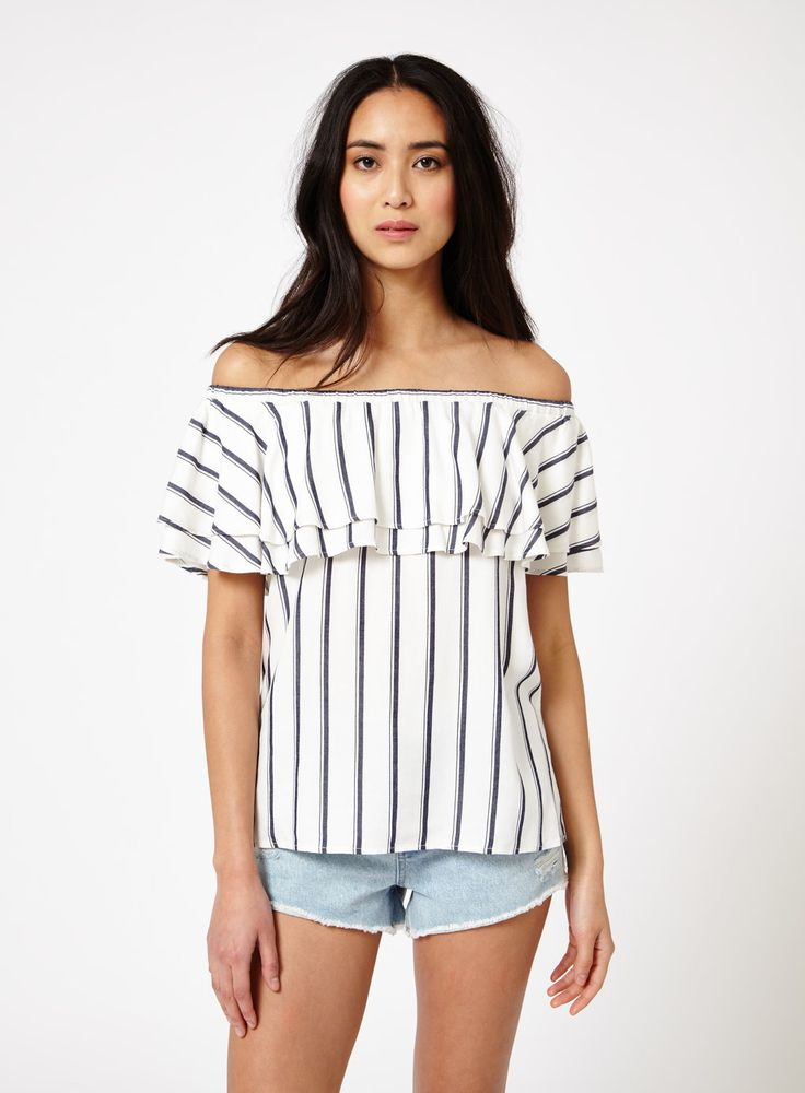 Stripe Frill Bardot Top