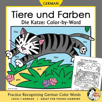 Help beginning German students learn animal words and recognize written German color names using this adorable coloring worksheet. This coloring sheet features a German animal word (Die Katze) and 8 German color words. I created color-by-word coloring worksheets for my younger students who know their colors 'by ear' but are having trouble recognizing written German color names.