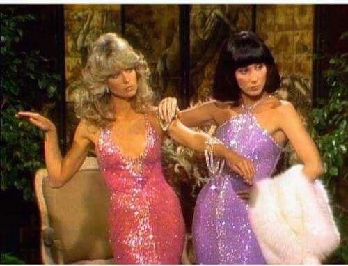 Farrah Fawcett & Kate Jackson on the Sonny and Cher show.