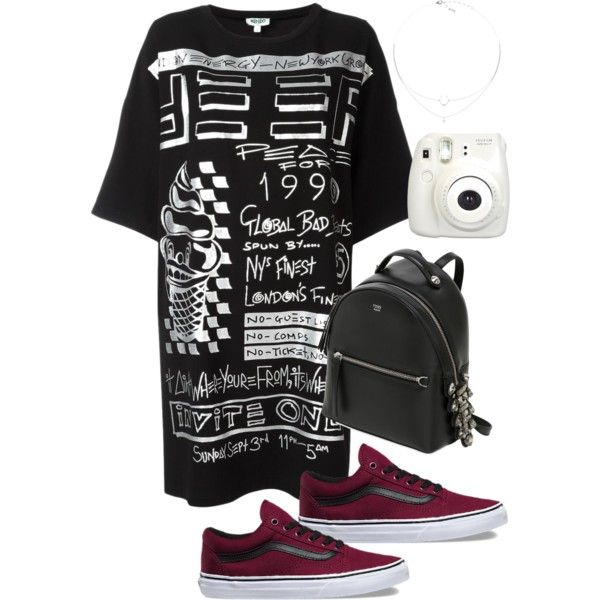 A fashion look from March 2017 featuring Kenzo dresses, Vans sneakers и Fendi backpacks. Browse and shop related looks.