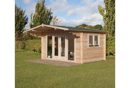 The Abberley is a bright and airy cabin with full length glazing at the front combined with a large roof overhang. Leekes - http://www.leekes.co.uk/log-cabins/abberley-log-cabin/invt/501751&bklist=icat,2,logcabins