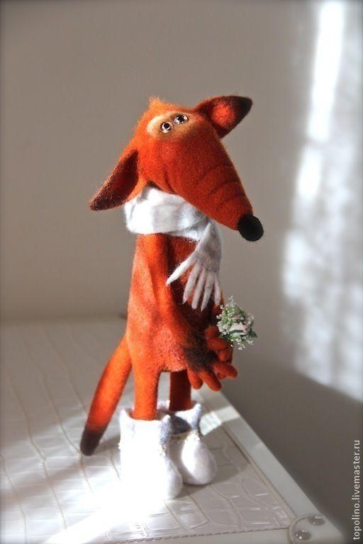 Купить Лис Валентин - рыжий, лиса, лисица, лис, шерсть, валяная игрушка, войлочная игрушка