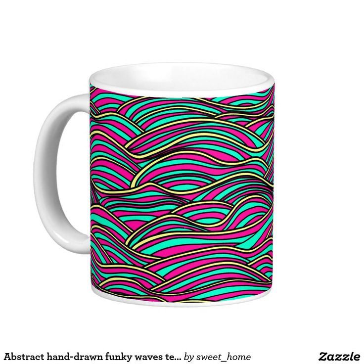 Abstract hand-drawn funky waves texture. coffee mug