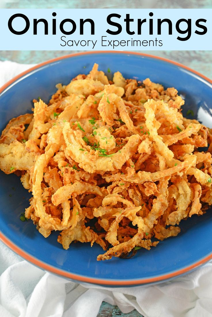 Onion Strings are buttermilk soaked and lightly seasoned fried onions. Perfect for topping burgers, a snack or green bean casserole.