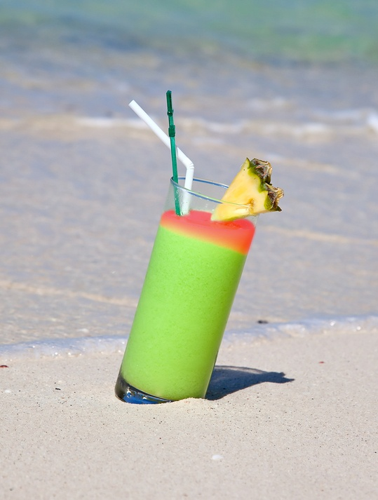 Pi's Shipwreck: 2 oz. Malibu Pineapple Rum, ½ oz. Midori, 2 oz. orange juice, 2 oz. pineapple juice, ½ oz. grenadine. Shake first four ingredients with ice and strain into a highball glass with ice. Top with grenadine.