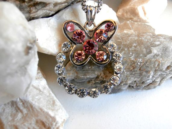 Butterfly Pendant Necklace  Repurposed  Pink / by ReTainReUse