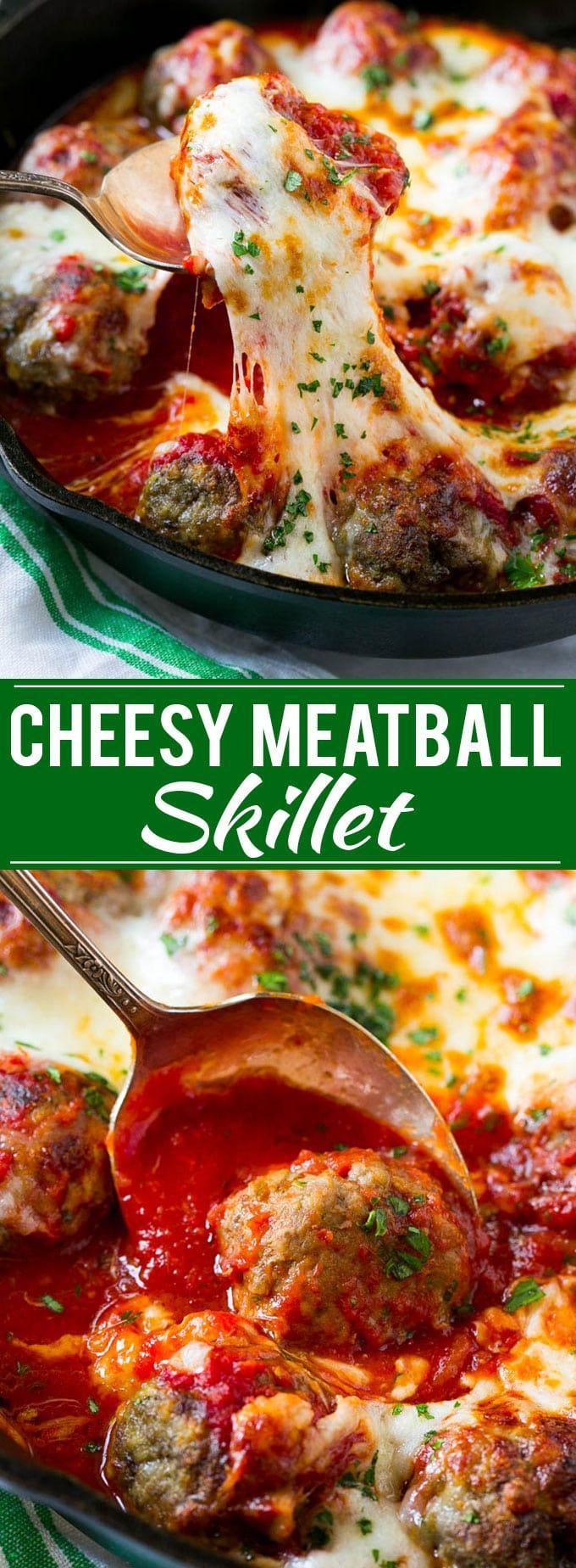 Cheesy Meatball Bake Recipe | Meatball Skillet | Italian Meatballs | Baked Meatball Recipe