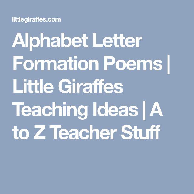 Alphabet Letter Formation Poems | Little Giraffes Teaching Ideas | A to Z Teacher Stuff