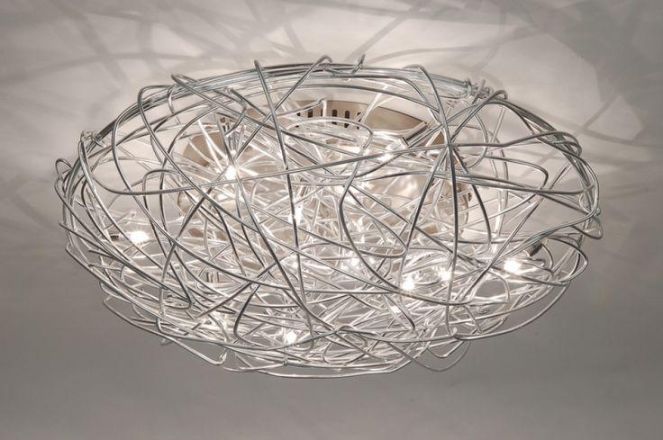 Plafondlamp 65901 modern staal rvs rond