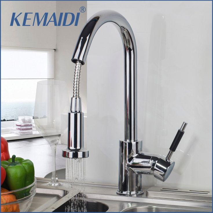 KEMAIDI DE Stock Basthroom Solid Brass Water Power Kitchen Faucet Swivel Spout Pull Out Vessel Sink Mixer Tap Kitchen Faucet #Affiliate