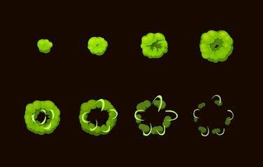 Sprite sheet for cartoon acid toxic explosion, mobile, flash game effect animation. 8 frames on dark background