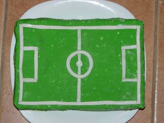 football field - chocolate cake with cherry