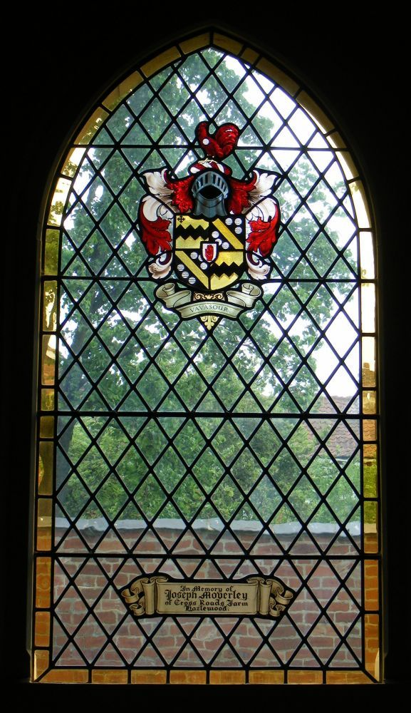 Vavasour arms on modern Church stain glass memorial.  St Joseph's Catholic Church, Tadcaster, Vavasour Window, North Wall.