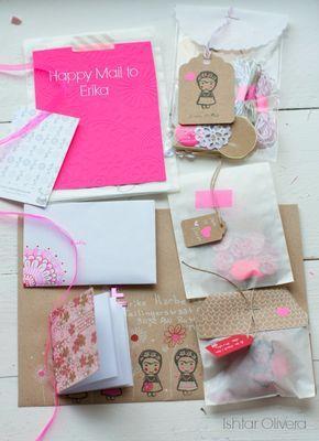 Happy Mail Project: letter to Erika ♥ | Ishtar Olivera - Mooie verpakking, die zakjes met die labels eraan. Ook mooie kleurencombinatie, kraft met neon roze.