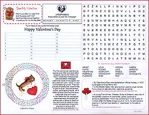 St. Valentineu0027s Day Activity Sheet With Puzzles, Games And Trivia From  GillianCrackers.