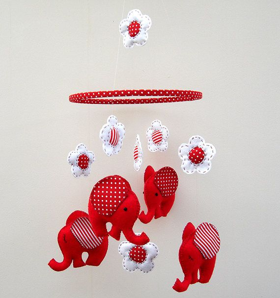 Red Elephant Felt Mobile Childrens Babys Mobile by FlossyTots
