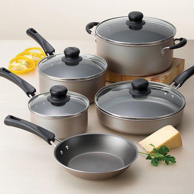 Tramontina 9 Piece Non Stick Cookware Set Champagne Walmart Com In 2020 Cookware Set Nonstick Cookware Set Ceramic Cookware Set
