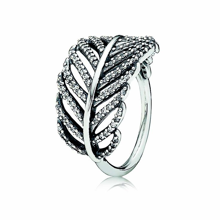 #PANDORA sterling silver feather ring with microset cubic zirconia RRP $109