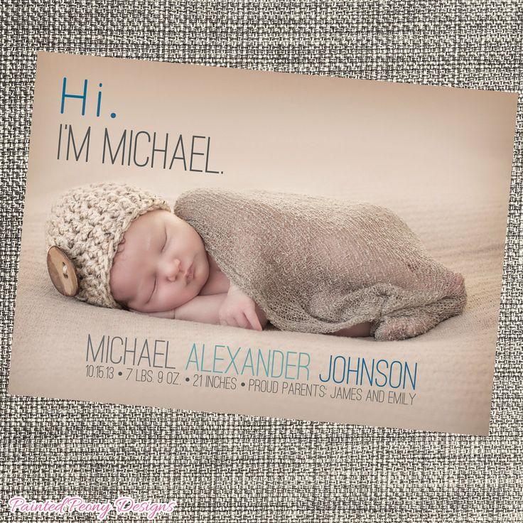 Baby Birth Announcement, Modern, Minimalistic by PaintedPeonyDesigns, $9.99
