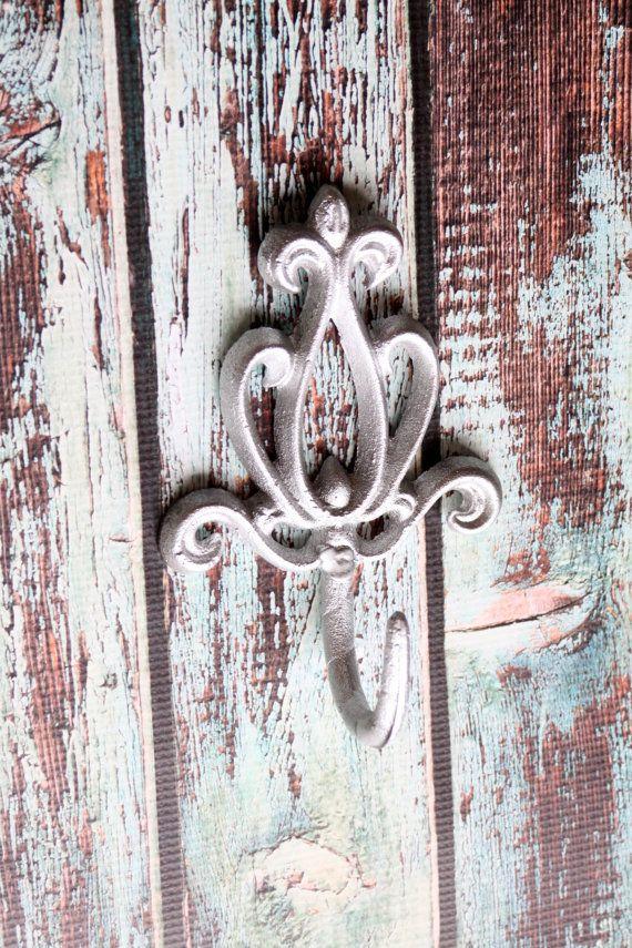 Cast Iron Victorian Wall Hook Decorative Coat Rack Metallic Silver Fleur De Lis Metal Scrolling on Etsy, $12.99
