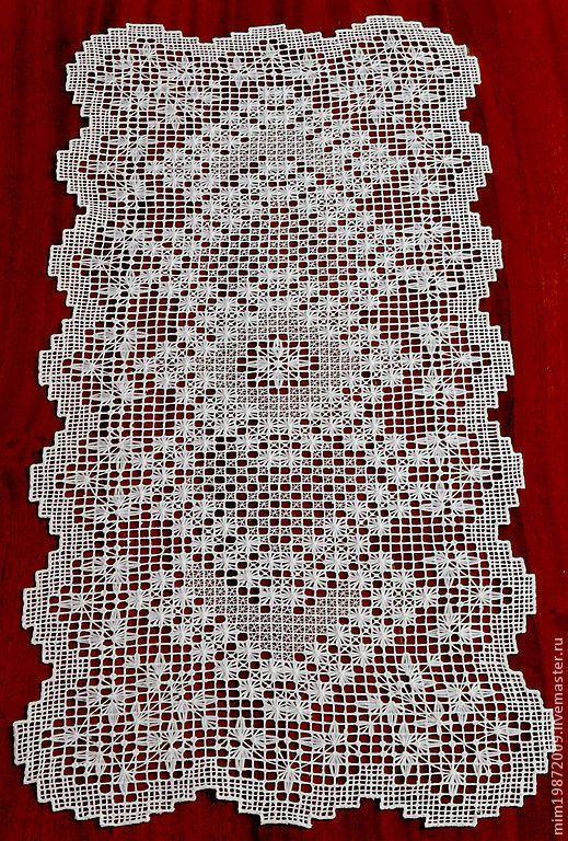 кружевная дорожка на стол, украшение интерьера, льняная дорожка с вышивкой, Горьковский гипюр, игольное кружево, русский стиль, традиционная русская вышивка, белая вышивка