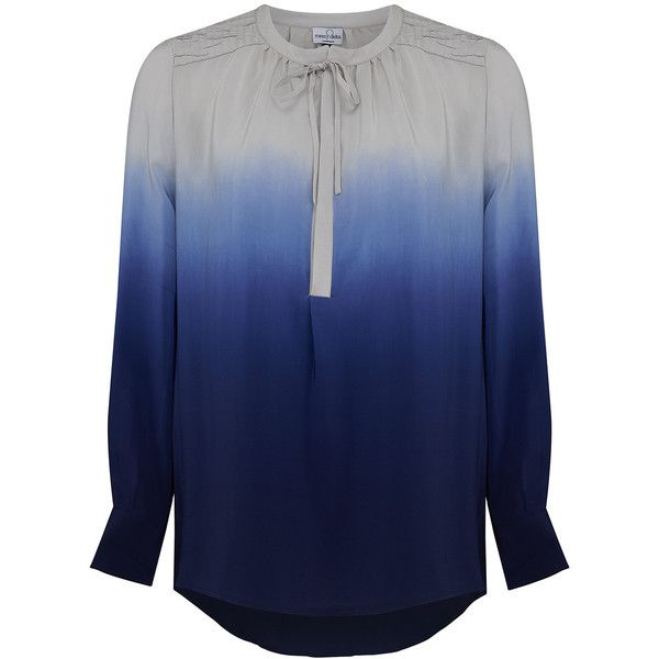Mercy Delta Stowe Ombre Blouse - Midnight ($135) ❤ liked on Polyvore featuring tops, blouses, midnight, silk tie blouse, silk blouses, ruched tops, blue top and button front blouse