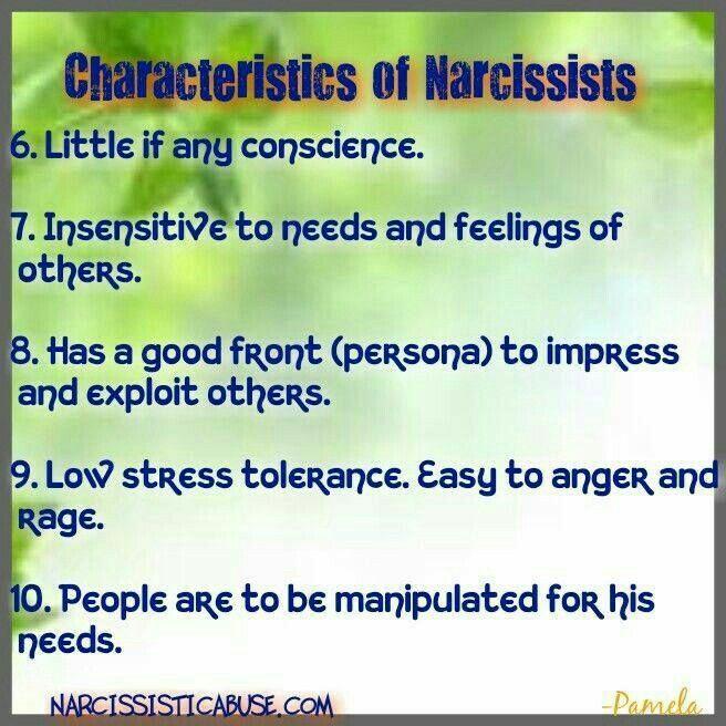 Characteristics of Narcissists  (  6 - 10 )