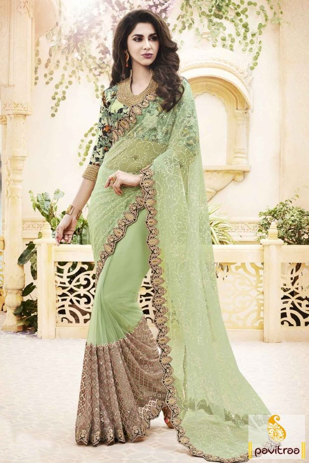 Costume up with stunning wedding wear medium sea green net saree online shopping with discount deal. Diwali Special Discount Offer:  5% OFF FOR Buy 1 Product 10% OFF FOR Buy 2 Product 15% OFF FOR Buy 3 Product or more  #saree, #designersaree, #partywearsaree, #weddingsaree, #designercollection, #netsaree More : http://www.pavitraa.in/store/net-saree/ callus: +91-7698234040