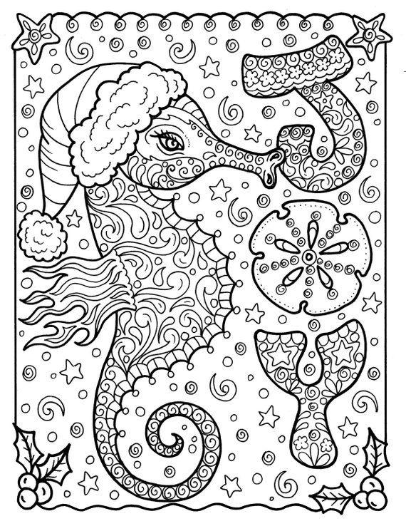 Sea Horse Christmas Coloring Page Holidays Beach Decor
