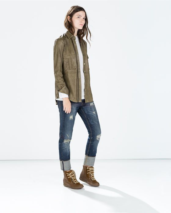 ZARA - WOMAN - LEATHER MILITARY SHIRT