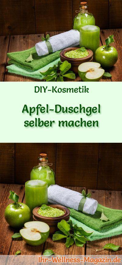 Duschgel selber machen - DIY-Kosmetik-Rezept für Apfel-Duschgel; Apfelpektine und –enzyme fördern die Zellbildung und Regeneration, die Haut erhält Feuchtigkeit, Geschmeidigkeit und Strahlkraft ...