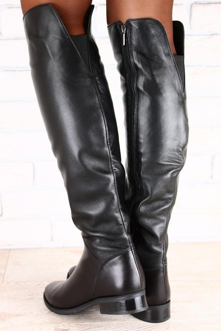 fc14787722da Женские зимние черные сапоги ботфорты натуральная кожа низкий ход в ...