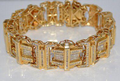 Mens Diamond Bracelet 9ct Diamonds Princess Cuts and Rounds XL big 14k Gold