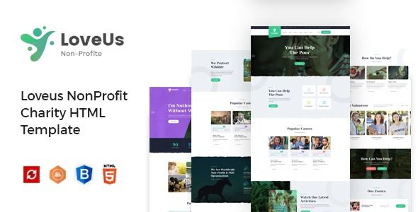 Loveus Charity Nonprofit Html Template In 2020 Fundraising Websites Website Template Programming Websites