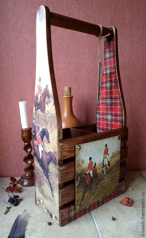 """Купить """" Английская охота """" короб для вина - разноцветный, короб для вина, подарок"""