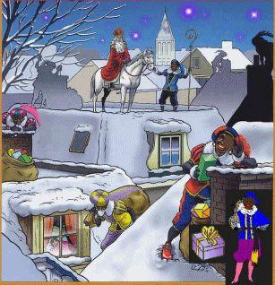 .Sinterklaas met zijn Pieten bezorgen kadootjes via de schoorsteen.............lb xxx,