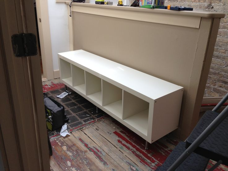 Ikea hack storage bench using expedit bookcase with for Expedit tv bench