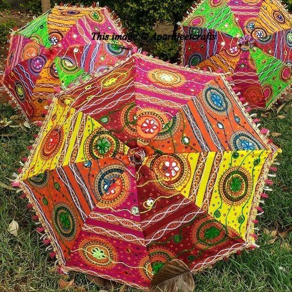 Handmade Patch work Handwork umbrella with Thread Embroidery,Traditional Indian Designer Embroidered Umbrella. Colorful Ethnic