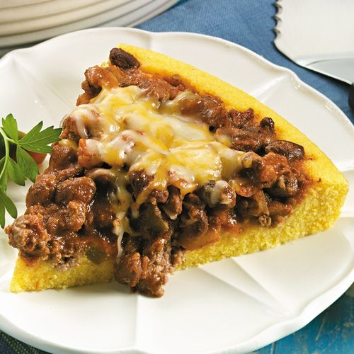Beef Tamale Bake - The Pampered Chef® I usually use leftover chili and 1/2 the cornbread