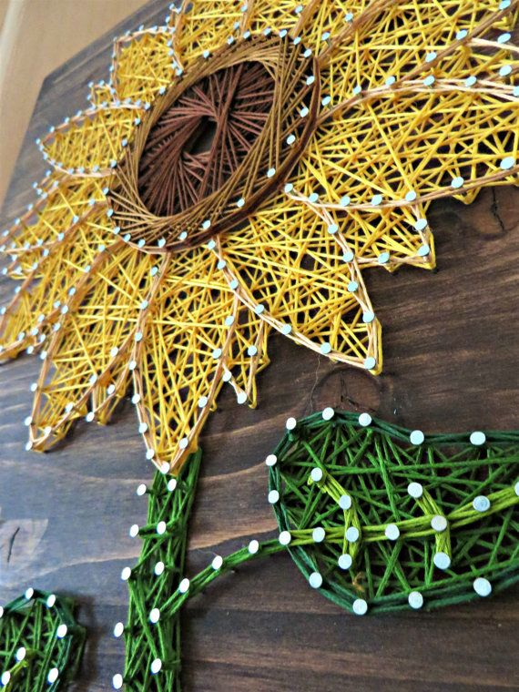 "DIY Kit - String Art Kit - DIY Crafts - Crafts Project - use the coupon diode ""PinLove"" to get 10% off the purchase price of any DIY kit. Check out StringoftheArt's Etsy shop to find out how you can create this beautiful String Art Sunflower. It is simple to make and tons of fun! All supplies are included inside the crafts kit so all you need to do is check out the Etsy Shop @ StringoftheArt and begin stringing!"